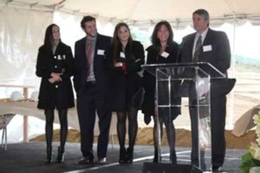 The Altman family (from left): Lindsay, Andy, Jessie, Lisa and Steve at the Jan. 10 groundbreaking ceremony for UC San Diego's new Clinical and Translational Research Institute. The family pledged $10 million toward the facility, to include a pediatric diabetes research center.