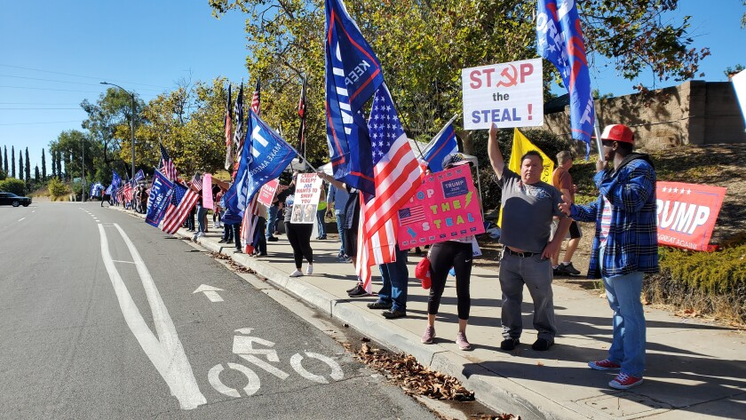 Trump supporters rallied in Poway on Nov. 15 in support of President Donald Trump's false claims of election fraud.