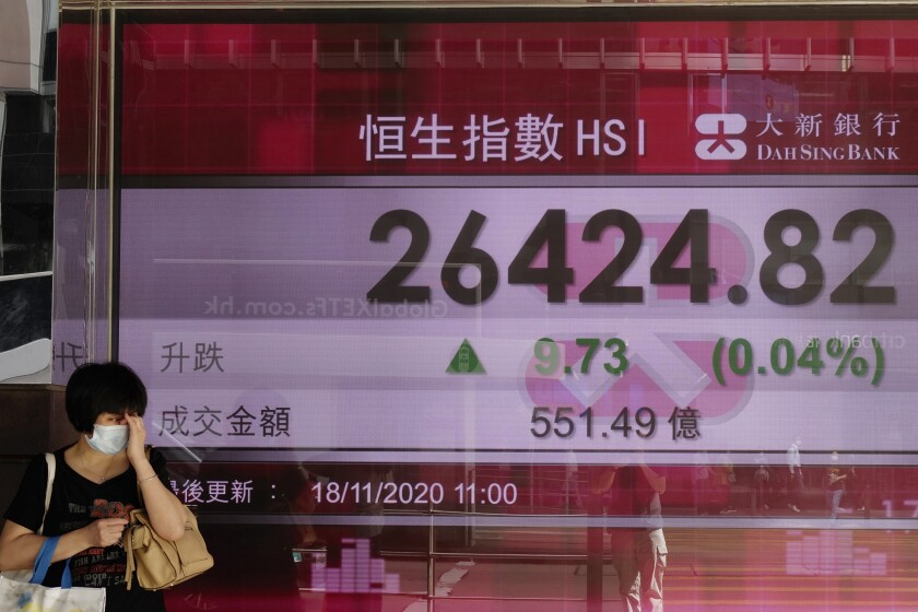 A woman walks past a bank's electronic board showing the Hong Kong share index at Hong Kong Stock Exchange Tuesday, Nov. 18, 2020. Asian stock markets were mixed Wednesday after Wall Street declined as worries about the long-term impact of the coronavirus pandemic tempered enthusiasm about possible vaccine development. (AP Photo/Vincent Yu)