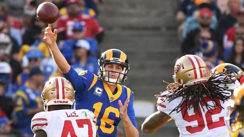 LOS ANGLELES, CA. DECEMBER 30, 2018-Rams quarterback Jared Goff throws a pass against the 49ers in t