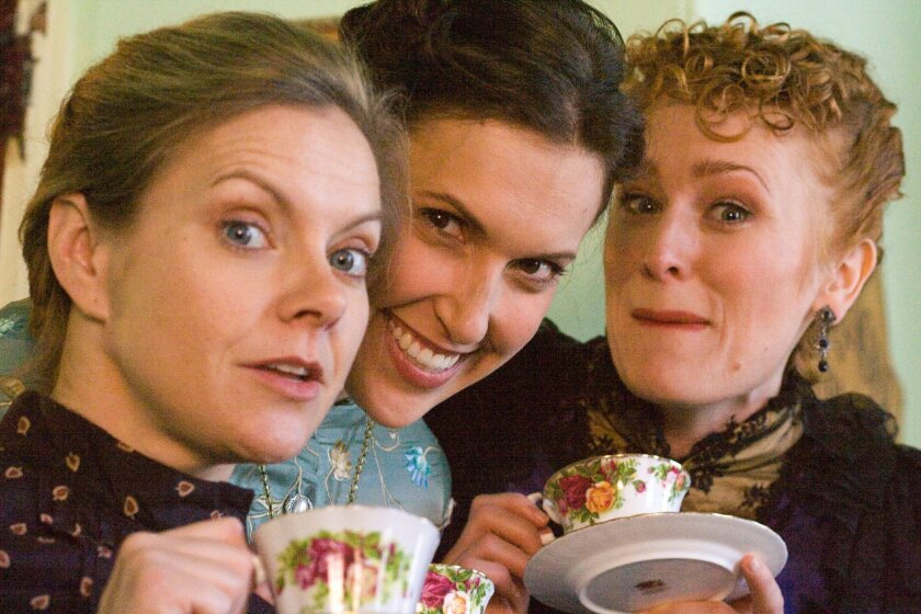 """Lisel Gorell-Getz as Annie, Aubrey Saverino as Catherine and Willow Geer as Sabrina in Sarah Ruhl's """"In the Next Room (or the vibrator play)."""""""