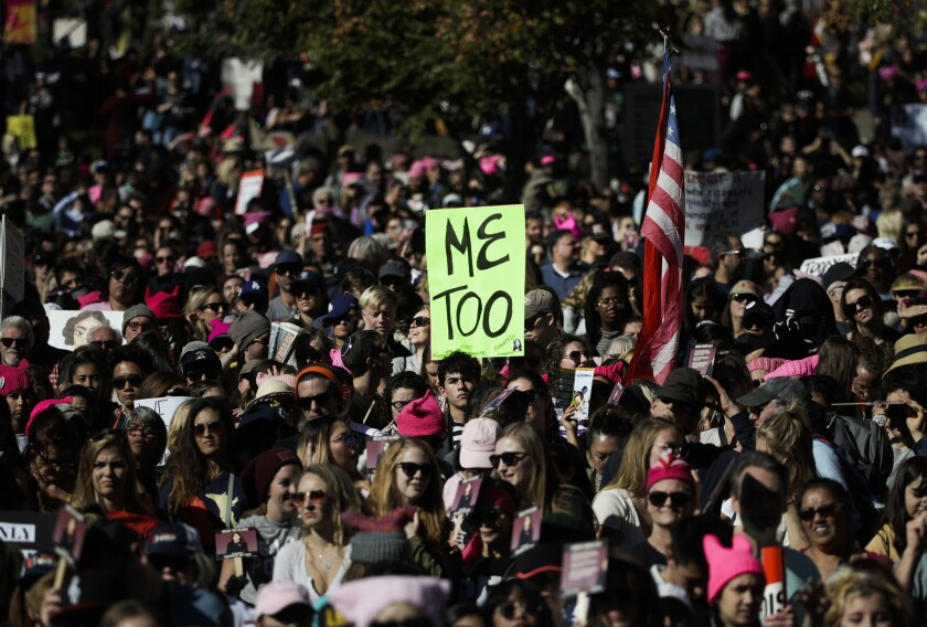 FILE - In this Jan. 20, 2018, file photo, protesters gather at the Grand Park for a Women's March ag