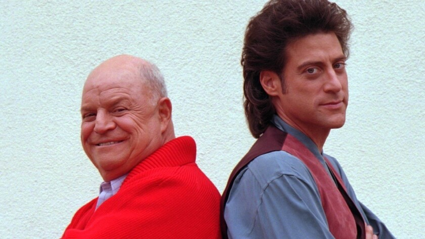"""Don Rickles, left, and Richard Lewis in Westwood, where they were filming a promotion for their new show, """"Daddy Dearest."""""""