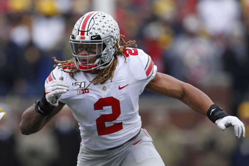 Ohio State edge rusher Chase Young (2) is unlikely to be selected first overall despite being the best prospect in the 2020 NFL draft class.