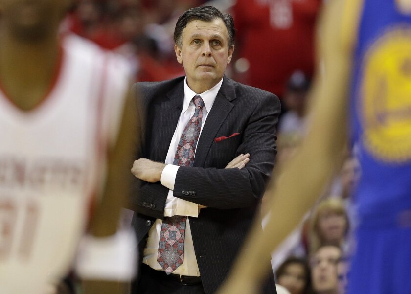 Houston Rockets head coach Kevin McHale watches his players against the Golden State Warriors during the second half in Game 3 of the NBA basketball Western Conference finals Saturday, May 23, 2015, in Houston. (AP Photo/David J. Phillip)
