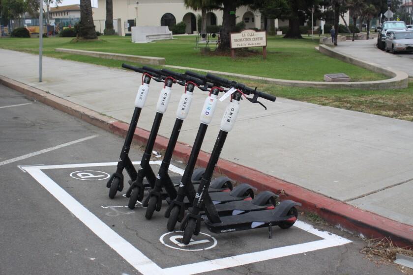 A scooter corral near the La Jolla Rec Center