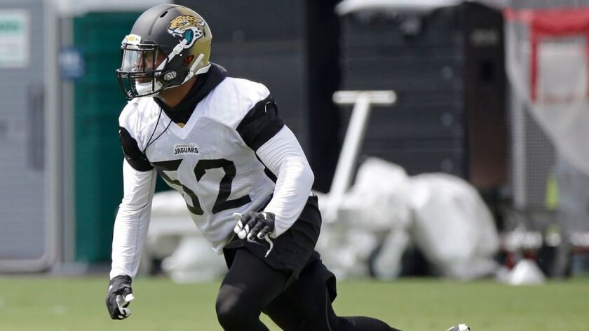 Hayes Pullard runs through a drill during the Jacksonville Jaguars training camp on July 28. The former USC linebacker was waived by the Jaguars on Sept. 3 and claimed by the Chargers on Sept. 4.