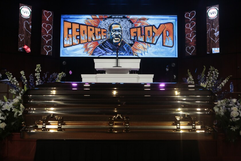 The casket of Gorge Floyd arrives at his memorial service on June 4, 2020.