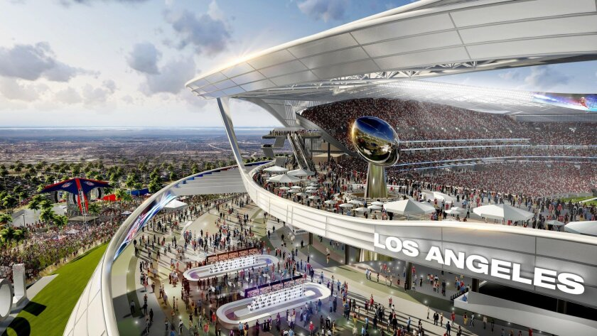 This undated architectural rendering provided by MANICA Architecture shows the Peristyle Club and Patio section of the proposed $1.75 billion NFL stadium the San Diego Chargers and Oakland Raiders football teams want to build in Carson, Calif. (MANICA Architecture)