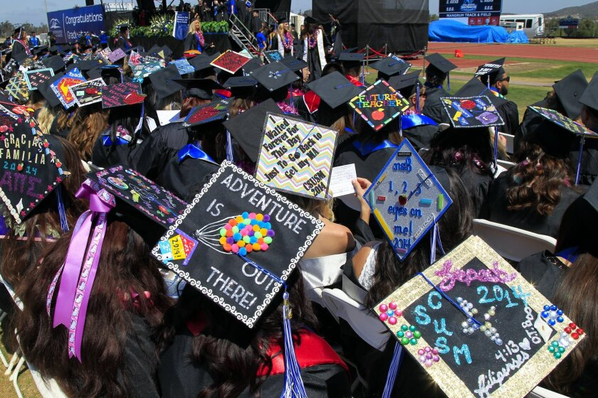 Decorated mortar boards were all around as about 800 students from the College of Humanities, Arts, Behavioral and Social Sciences graduated from Cal State University San Marcos during this 2013 ceremony.