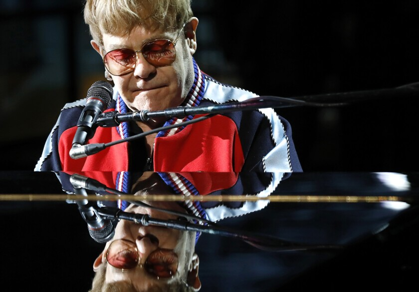 NEW YORK, NEW YORK--JAN. 25, 2018--Elton John rehearses for the 60th Annual Grammy Awards show at Ma