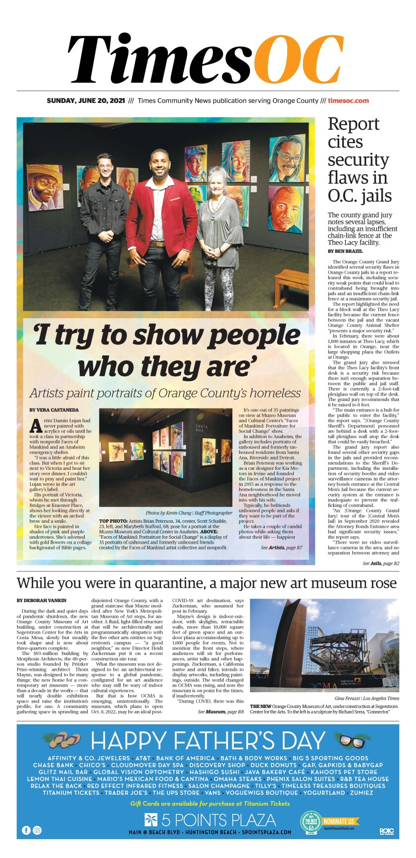 Front page of Times OC e-newspaper for Sunday, June 20, 2021.