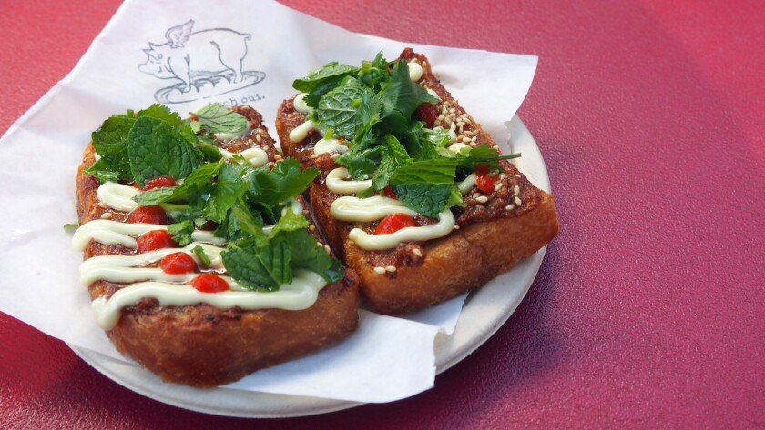 Shrimp toast from the Banh Oui pop-up.