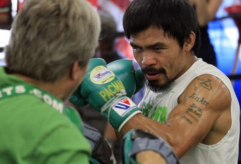 Manny Pacquiao sparring partner Frankie Gomez provides a lift