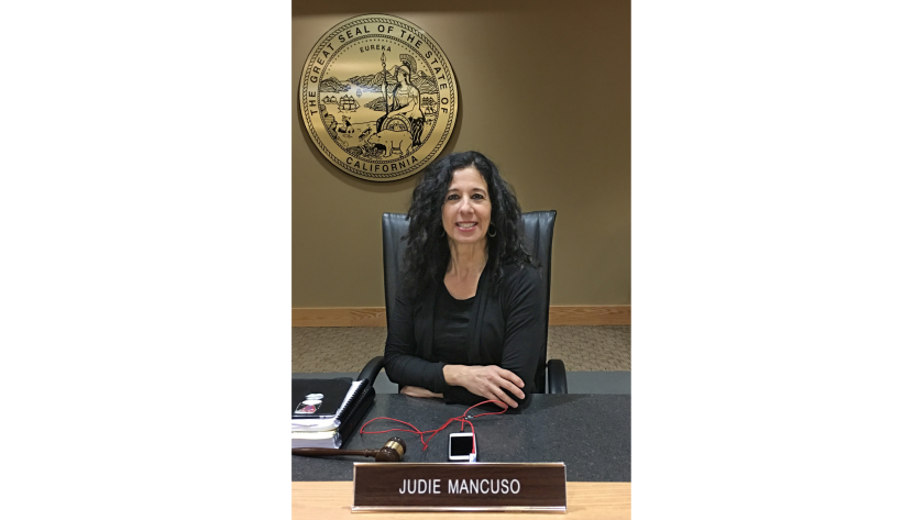Laguna Beach resident Judie Mancuso, seen in January inside the state's Veterinary Medical Board room, is running for a seat on the Laguna Beach City Council. Mancuso has advocated for the well-being of animals and environmental protection issues.