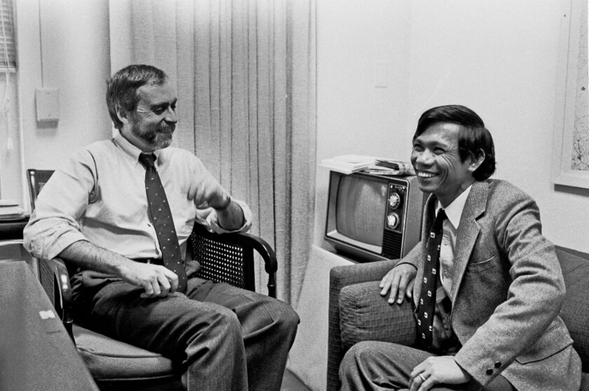 "In this Jan. 15, 1980 photo, Sydney Schanberg, left, talks with Dith Pran at the New York Times office in New York. Schanberg, the Pulitzer Prize-winning correspondent for The New York Times, whose coverage in Cambodia in 1975 inspired the film ""The Killing Fields,"" has died. He was 82. The Times reported Schanberg died Saturday, July 9, 2016 in Poughkeepsie, N.Y. The newspaper cited Charles Kaiser, a friend and former Times reporter who said Schanberg had a heart attack on Tuesday. (The New York Times via AP)"