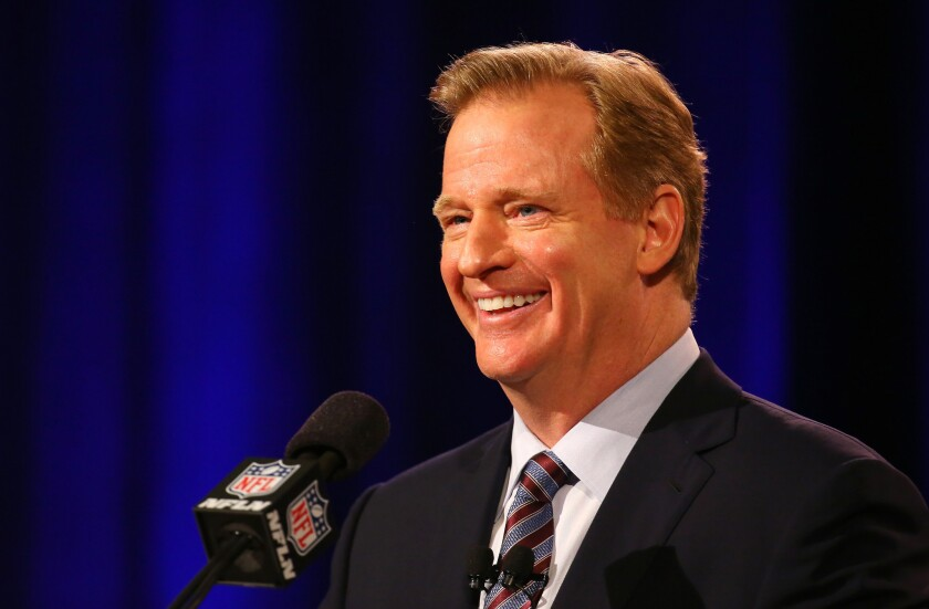 NFL Commissioner Roger Goodell speaks during a press conference leading up to Super Bowl XLIX in Phoenix.