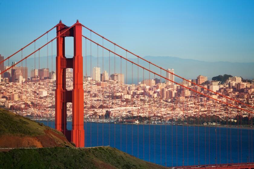 Cityscape of San Francisco and Golden Gate Bridge