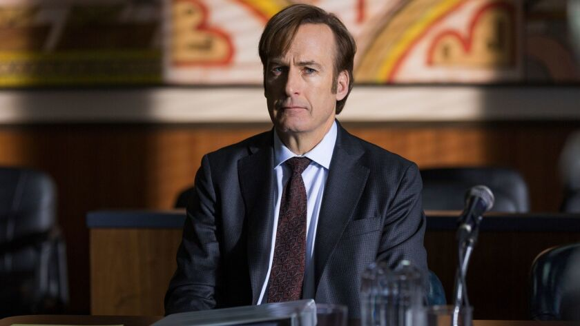 """This image released by AMC shows Bob Odenkirk in """"Better Call Saul."""" The program is nominated for an"""