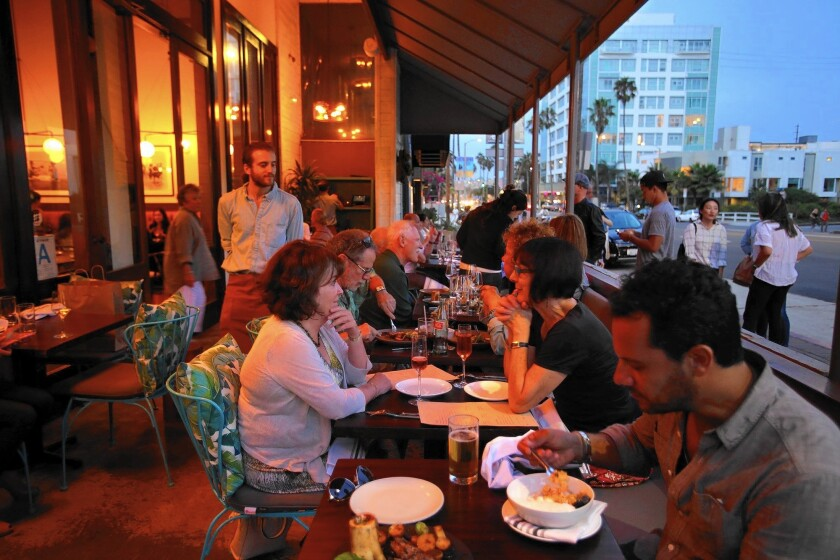 Diners enjoy a meal at Leona restaurant in Venice. Southern California, one of the fastest-growing regions for restaurants in the nation.
