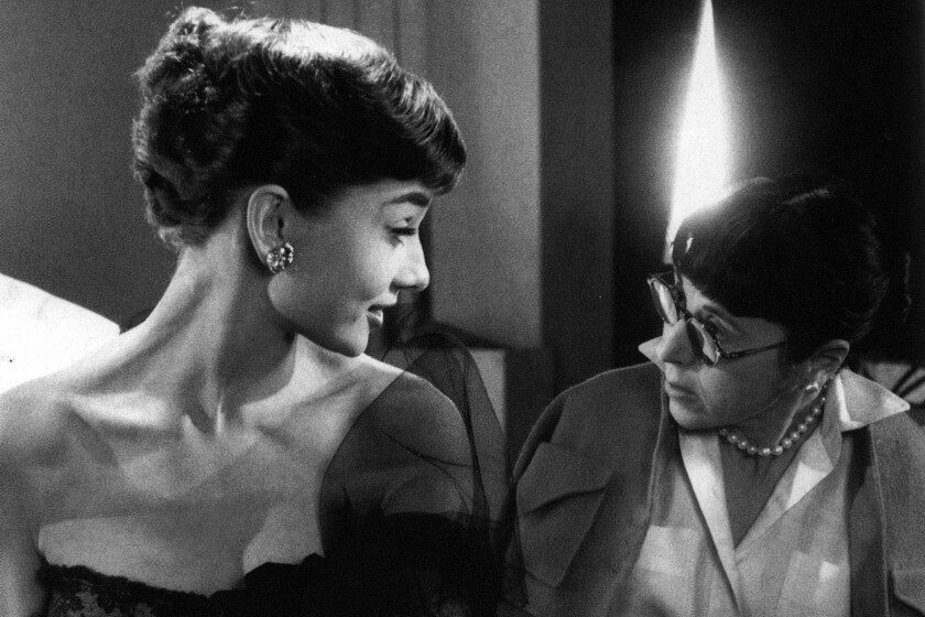 Audrey Hepburn with Edith Head, who is the subject of a retrospective at the Billy Wilder Theater.