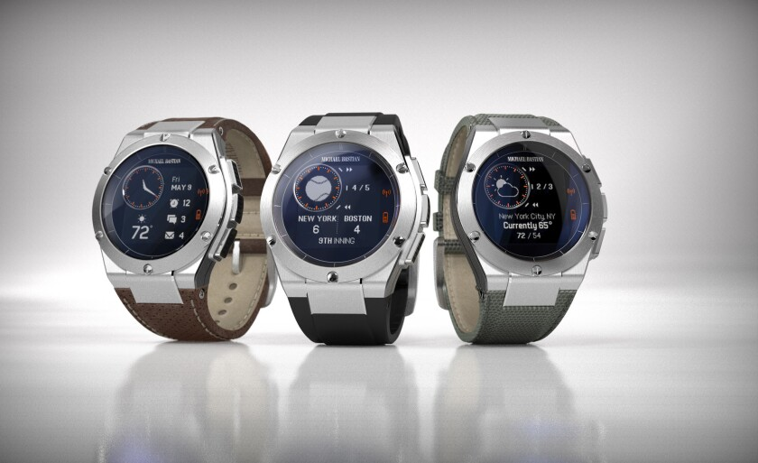 The MB Chronowing ($349 via Gilt) has a 44-millimeter stainless steel watch case, three interchangeable straps, and HP technology that connects to Android and iOS smartphones.