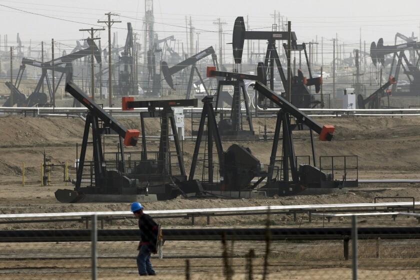 Pumpjacks pumping oil in Bakersfield