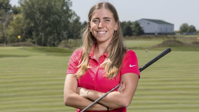 In this Sept. 7, 2017, photo provided by Iowa State University in Ames, Iowa, golfer Celia Barquin A