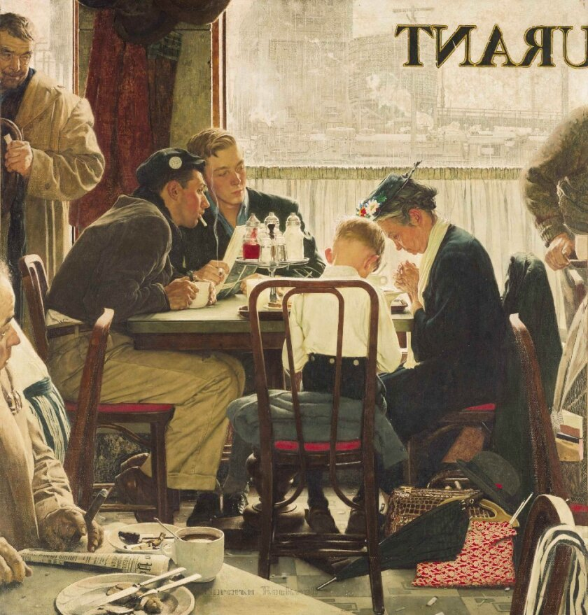 """Norman Rockwell's 1951 painting """"Saying Grace"""" broke auction records at Sotheby's in New York on Wednesday when it sold for a record $46 million."""