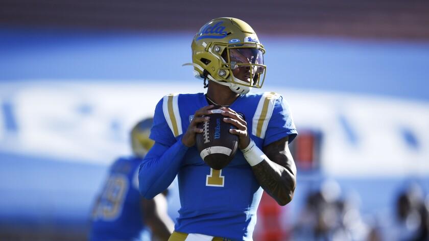 UCLA quarterback Dorian Thompson-Robinson looks to pass against California on Nov. 15, 2020.
