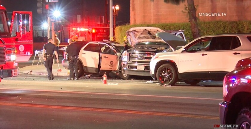 Four people were taken to hospitals Wednesday night after a crash in South Los Angeles.