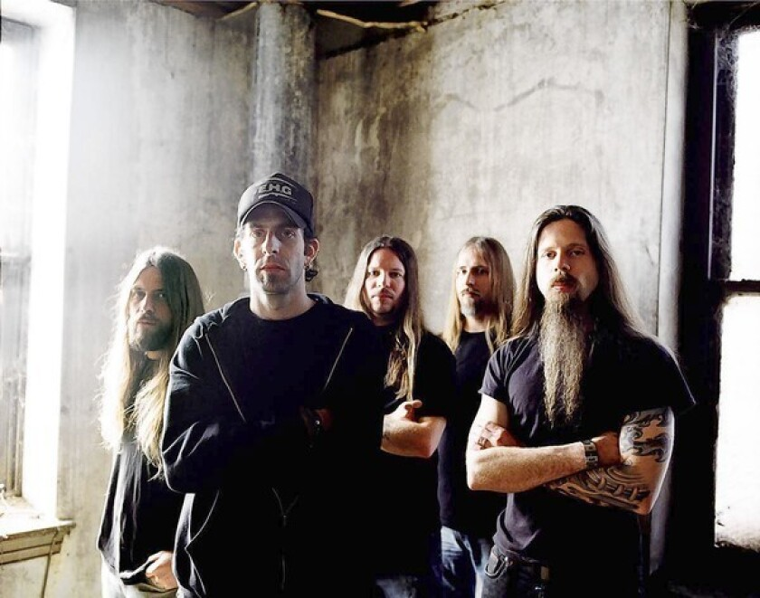 The metal band Lamb of God –– Mark Morton, left, Randy Blythe, Will Adler, John Campbell, Chris Adler.