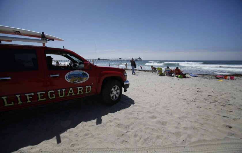 Lifeguards show their presence at Imperial Beach on Aug. 29.