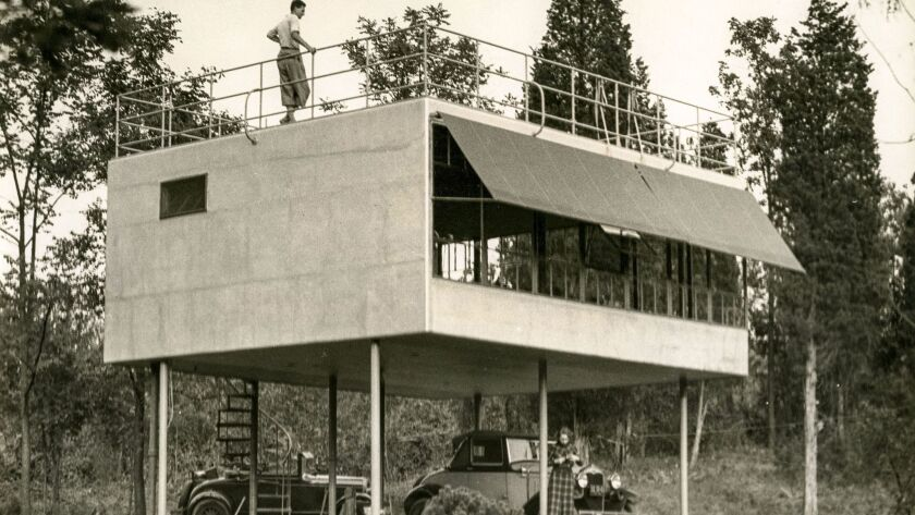 A. Lawrence Kocher and Albert Frey, Aluminaire House, 1931, view of front entrance and double-height