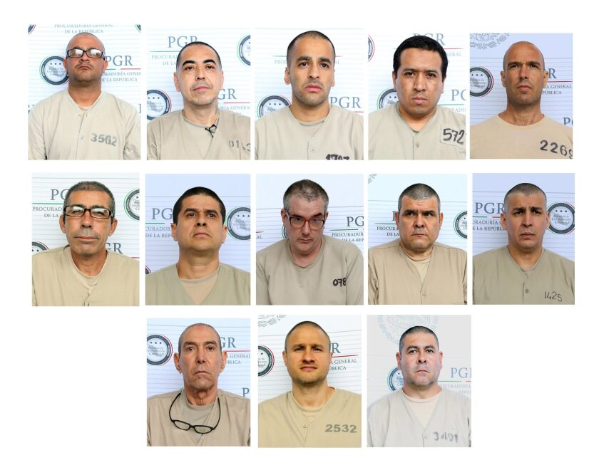 An undated handout combo picture provided by the attorney general of Mexico on Thursday shows 13 men extradited to the U.S. for diverse crimes, among them Edgar Valdez Villarreal (bottom line, center), also known as 'La Barbie'; and 'El Coss,' Jorge Eduardo Costilla Sanchez (middle row, second from right).
