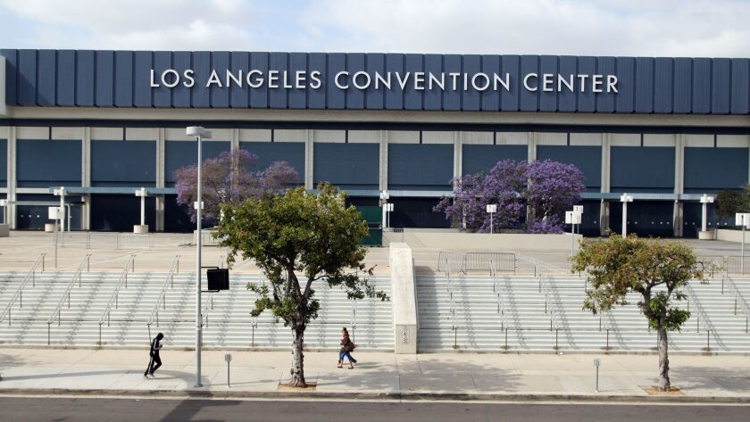 The West Hall of the Los Angeles Convention Center, which would be upgraded as part of a $1.2-billion development proposed by AEG.