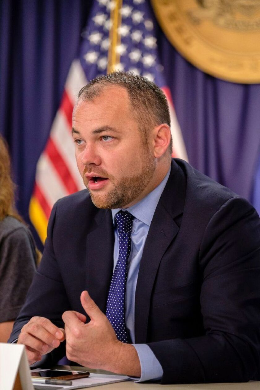Corey Johnson speaks at a press conference in Gov Cuomo's office on Third Avenue to sign an emergency order to reactivate NYC speed cameras, Monday, Aug. 27, 2018. (Jeff Bachner/New York Daily News)