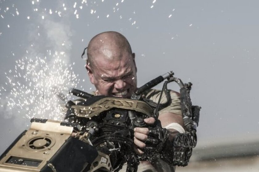 "Matt Damon stars in ""Elysium,"" which was the No. 1 film at the box office this weekend."