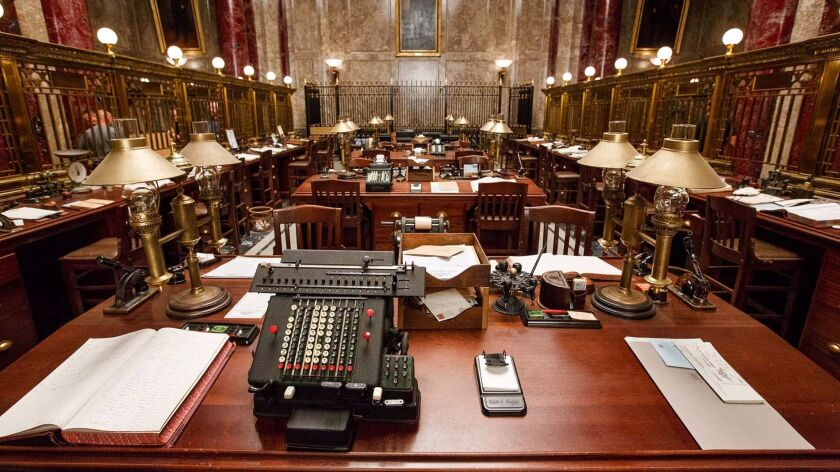 """Interior -- the typing pool -- on the set of """"Fantastic Beasts and Where to Find Them."""""""