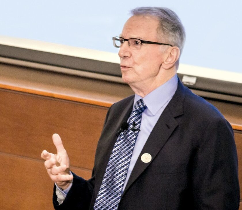 Irwin Jacobs as a guest of the UC Institute on Global Conflict and Cooperation, Dec. 16.