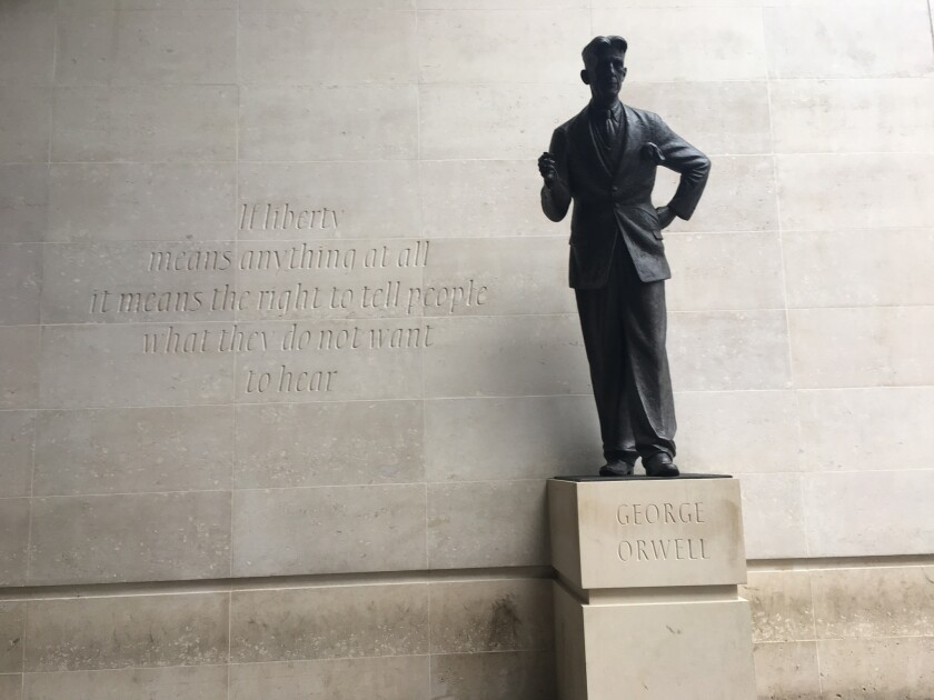 "A photograph of a George Orwell statue featured in the book ""The Ministry of Truth: The Biography of"