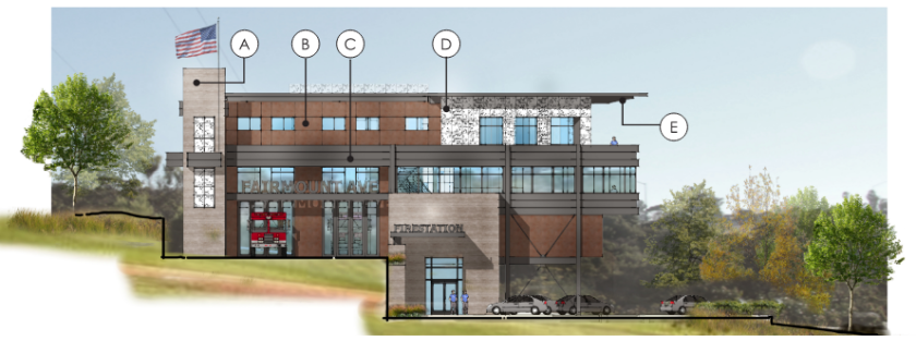 A draft rendering of the slated fire station on Fairmont Avenue and 47th Street.