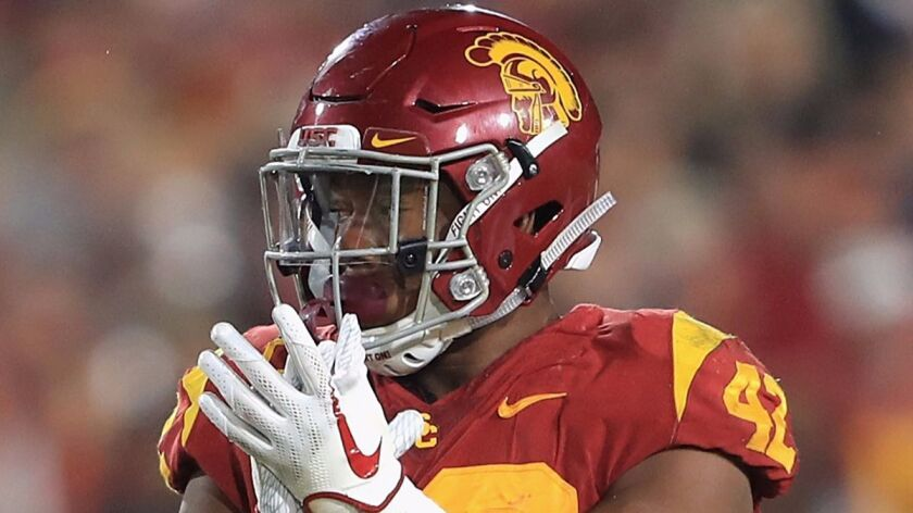 USC's Uchenna Nwosu reacts during the second half against Stanford at Los Angeles Memorial Coliseum on Saturday.