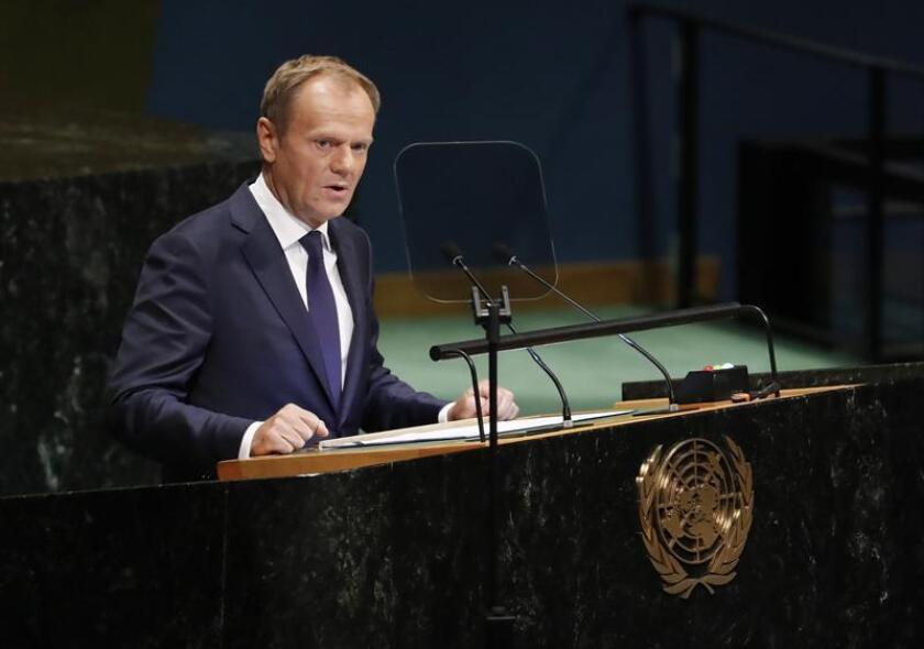 El presidente del Consejo Europeo, Donald Tusk, pronuncia su discurso durante la cuarta jornada de debates de la 73 Asamblea General de Naciones Unidas (ONU), en la sede de la ONU en Nueva York, Estados Unidos, el 27 de septiembre del 2018.