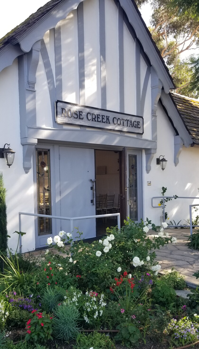 The front of Rose Creek Cottage has been re-painted white with blue-gray accents. Operators Frank and Letizia Gaxiola's love for nature and plants has been incorporated into every corner of the venue.