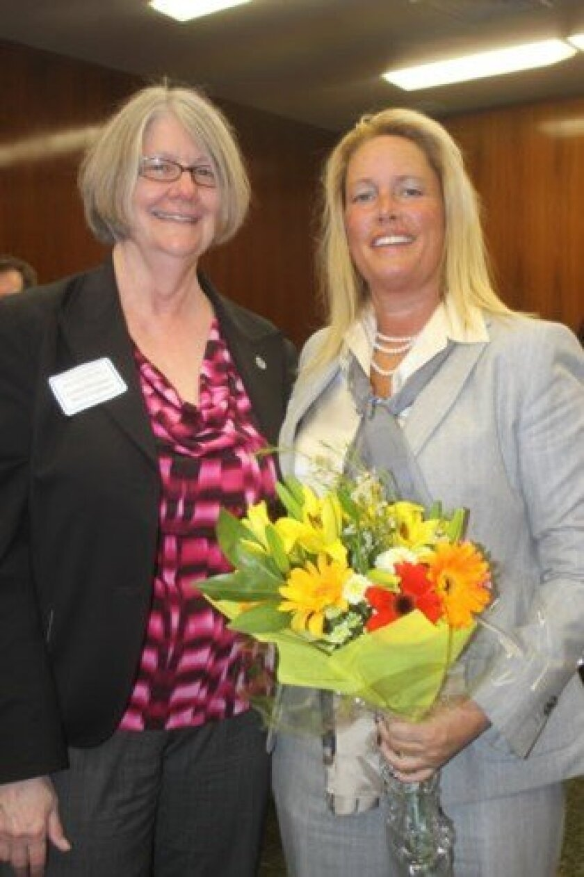 La Jolla resident and Women of the Year honoree Cindy Greatrex (right) with District 1 City Councilmember Sherri Lightner.