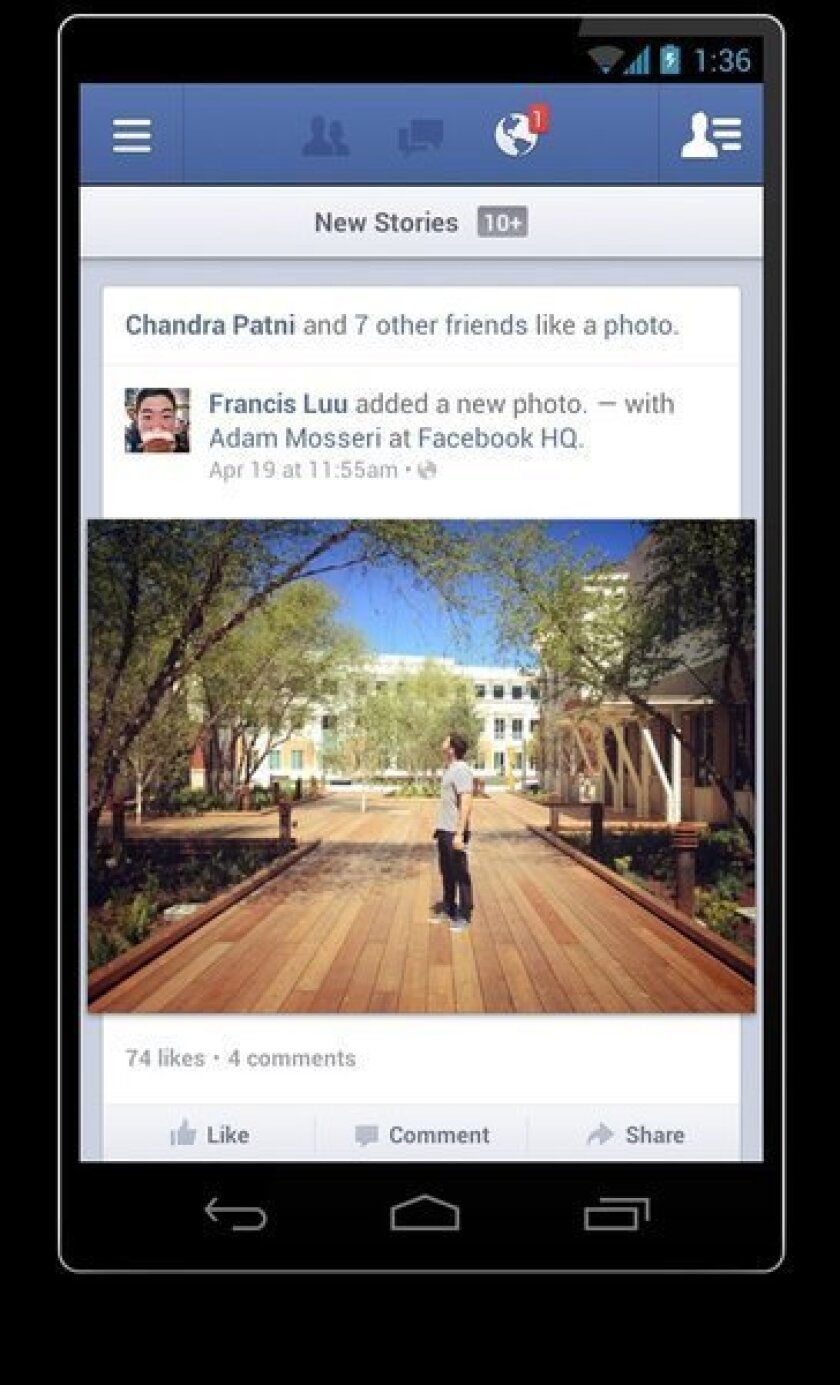 A screenshot of the Facebook for Android 2.0 app.
