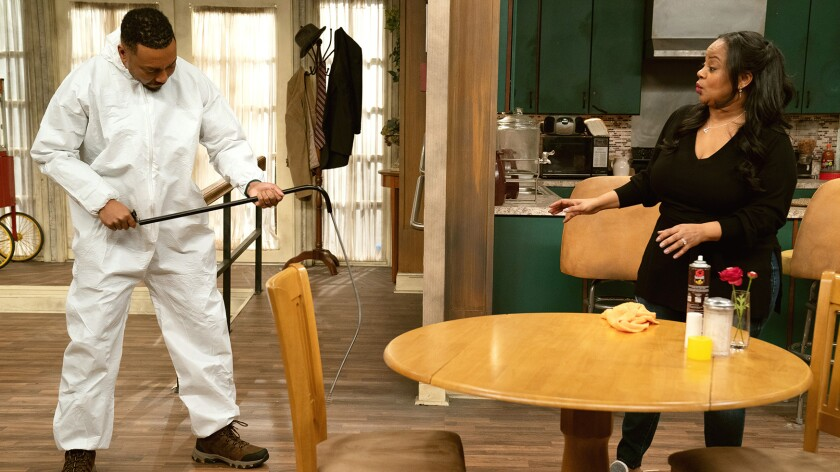 """Na'im Lynn and Courtney Nichole in """"Tyler Perry's Assisted Living"""" on BET."""