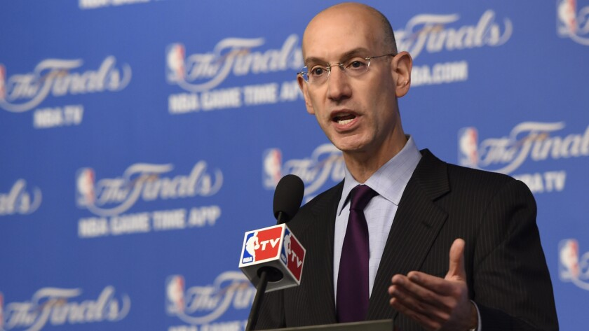 NBA Commissioner Adam Silver answers questions during a news conference Sunday before the start of Game 2 of the NBA Finals in San Antonio, Texas. Silver said he's only spoken once to Clippers owner Donald Sterling since banning him for life.