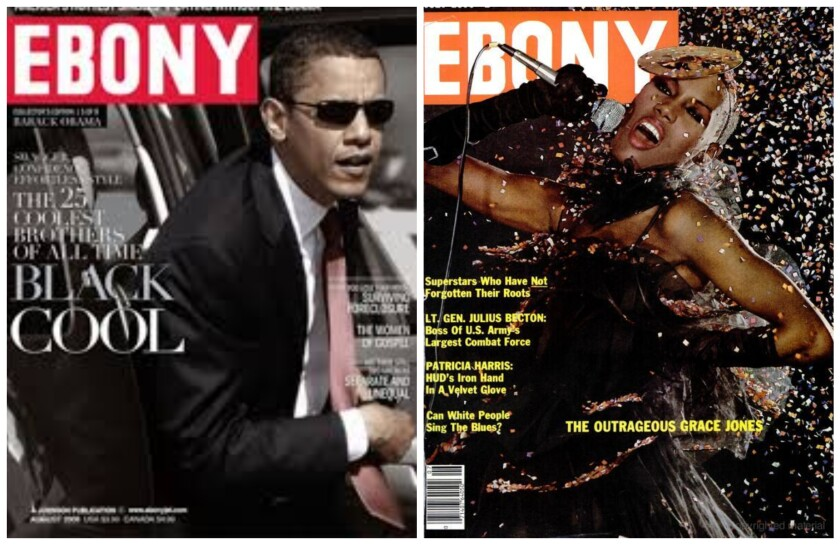 On the cover of Ebony: Then-presidential candidate Barack Obama in 2008, and Grace Jones in 1989